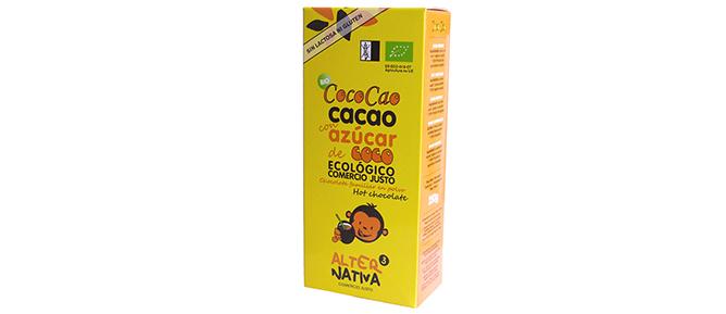 COCOCAO, CACAO SOLUBLE ELABORADO CON AZúCAR DE COCO